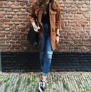 H&M faux Suede Coat Size 2